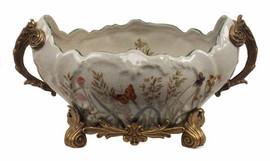 Summer Garden - Luxury Hand Painted Porcelain and Gilt Bronze Ormolu - 12 Inch Serpentine Centerpiece Planter