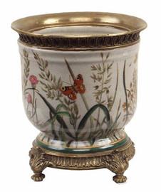 Summer Garden - Luxury Hand Painted Porcelain and Gilt Bronze Ormolu - 7.75 Inch Planter