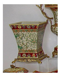 Chinese Red and Fern Green - Luxury Hand Painted Reproduction Chinese Porcelain and Gilt Bronze Ormolu - 10 Inch Vase, Jardiniere, Planter Style A975
