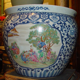 Blue and White Figural Scene - Luxury Handmade and Painted Reproduction Chinese Porcelain - 20 Inch Fish Bowl, Planter Style 35