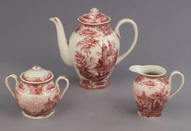 Red and White Pattern - Luxury Reproduction Transferware Porcelain - 3 Piece Tea Set