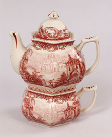 Red and White Pattern - Luxury Reproduction Transferware Porcelain - Tea for One Set 1213 AAA
