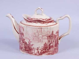 Red and White Pattern - Luxury Reproduction Transferware Porcelain - 10.5 Inch Teapot 1207 AAA