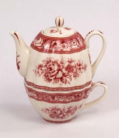 Red and White Pattern - Luxury Reproduction Transferware Porcelain - Tea for One Set