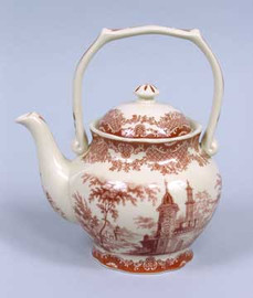 Luxurious Reproduction Transferware Porcelain 8 Inch Teapot - Red and White