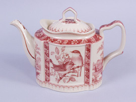 Red and White Pattern - Luxury Reproduction Transferware Porcelain - 10.5 Inch Teapot