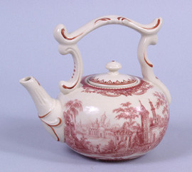 Red and White Pattern - Luxury Reproduction Transferware Porcelain - 5 Inch Teapot - 1202AAA