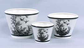 Black and White Pattern - Luxury Reproduction Transferware Porcelain - 9.5 Inch Planters - Set of Three