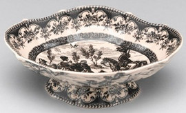 Black and White Pattern - Luxury Transferware Porcelain - 8.25 Inch Bowl