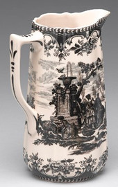 Black and White Pattern - Luxury Reproduction Transferware Porcelain - 8.5 Inch Beverage Pitcher