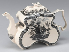 Black and White Pattern - Luxury Reproduction Transferware Porcelain - 12 Inch Teapot