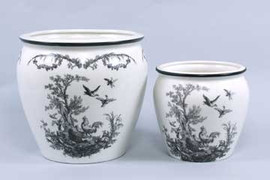 Black and White Pattern - Luxury Reproduction Transferware Porcelain - 9 Inch Decorative Planter Set of Two