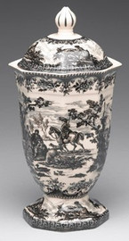 Black and White Pattern - Luxury Reproduction Transferware Porcelain - 12 Inch Covered Jar