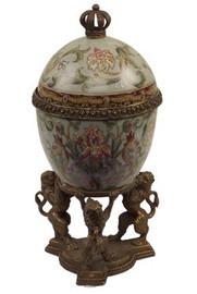 Iris Garden Pattern - Luxury Hand Painted Porcelain and Gilt Bronze Ormolu - 10 Inch Decorative Egg Box