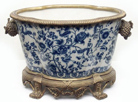 Blue and White Floral - Luxury Hand Painted Porcelain and Gilt Bronze Ormolu - 17 Inch Planter