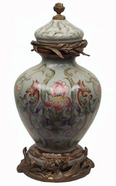 Iris Garden Pattern - Luxury Hand Painted Porcelain and Gilt Bronze Ormolu - 15 Inch Decorative Jar