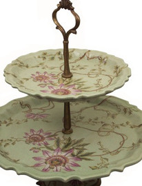Girasoli Rosa - Luxury Hand Painted Porcelain and Gilt Bronze Ormolu - 13 inch Pastry Display Tower