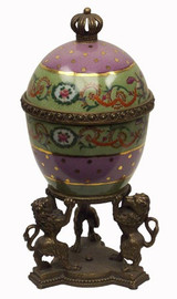 Rosa con Puntini Oro - Luxury Hand Painted Porcelain and Gilt Bronze Ormolu - 10 Inch Decorative Egg