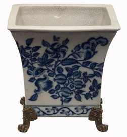 Blue and White - Luxury Hand Painted Porcelain and Gilt Bronze Ormolu - 7 Inch Tapered Planter