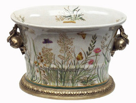 Summer Garden - Luxury Hand Painted Porcelain and Gilt Bronze Ormolu - 10.25 Inch Planter