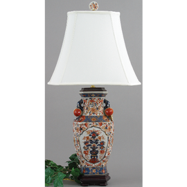Luxurious Hand Painted Porcelain Lamp with Silk Shade - 30 Inches in Height - Autumn in Bloom Pattern