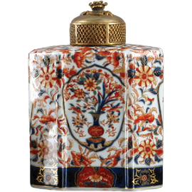 Autumn in Bloom Pattern - Luxury Hand Painted Porcelain and Gilt Bronze Ormolu - 8 Inch Jar