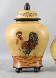 Royal Rooster Pattern - Luxury Hand Painted Porcelain - 14 Inch Jar