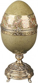 Luxe Life Speckled Moss Green - Luxury Hand Painted Porcelain and Gilt Bronze Ormolu - 10 Inch Decorative Egg