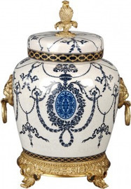 Luxe Life Blue and White - Luxury Hand Painted Porcelain and Gilt Bronze Ormolu - 10 Inch Covered Jar