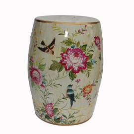 An Artisan Essence, Handmade, Handpainted Flowers and Birds Garden Seat, Stool, Accent Table