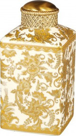 Luxe Life Gold Fern Pattern - Luxury Hand Painted Porcelain and Gilt Bronze Ormolu - 7 Inch Decorative Jar