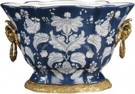 Luxe Life Blue with White Floral Pattern - Luxury Hand Painted Porcelain and Gilt Bronze Ormolu - 13 Inch Oval Planter