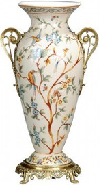 Luxe Life Morning Glory Pattern - Luxury Hand Painted Porcelain and Gilt Bronze Ormolu - 12 Inch Vase