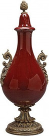 Luxe Life Glossy Red Fine Porcelain and Gilt Bronze Ormolu - 13 Inch Table Top or Mantle Covered Urn