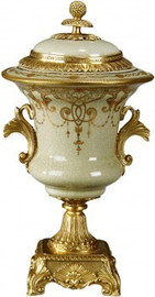 Luxe Life Silver and Gold Crest Pattern - Luxury Hand Painted Porcelain and Gilt Bronze Ormolu - 14 Inch Covered Urn