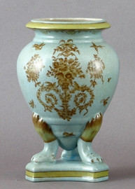 Country Antique Pattern - Luxury Hand Painted Porcelain - 9.5 Inch Vase