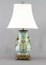 Country Antique Pattern - Luxury Hand Painted Porcelain and Gilt Bronze Ormolu - 29 Inch Lamp