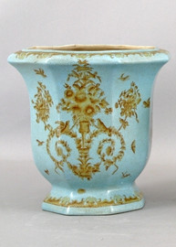 Country Antique Pattern - Luxury Hand Painted Porcelain - 10 Inch Vase