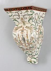Vert Fougere Pattern - Luxury Hand Painted Porcelain - 12 Inch Wall Shelf, Bracket, Sconce