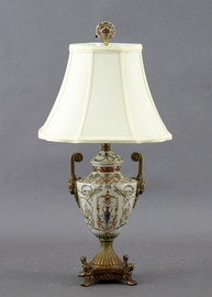 Vert Fougere Pattern - Luxury Hand Painted Porcelain and Gilt Bronze Ormolu - 22 Inch Lamp