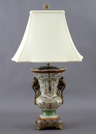Vert Fougere Pattern - Luxury Hand Painted Porcelain and Gilt Bronze Ormolu - 30 Inch Lamp