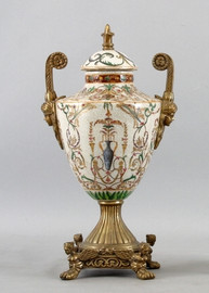 Vert Fougere Pattern - Luxury Hand Painted Porcelain and Gilt Bronze Ormolu - 13 Inch Covered Urn