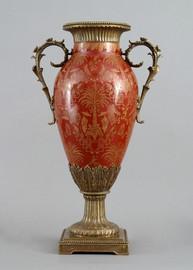 Olde Plantation Pattern - Luxury Hand Painted Porcelain and Gilt Bronze Ormolu - 22 Inch Vase