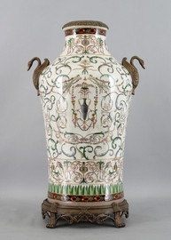 Vert Fougere Pattern - Luxury Hand Painted Porcelain and Gilt Bronze Ormolu - 25 Inch Vase