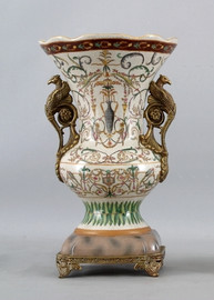 Vert Fougere Pattern - Luxury Hand Painted Porcelain and Gilt Bronze Ormolu - 15 Inch Vase