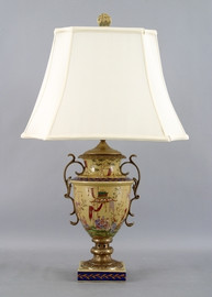 Dynasty Pattern - Luxury Hand Painted Porcelain and Gilt Bronze Ormolu - 32 Inch Lamp