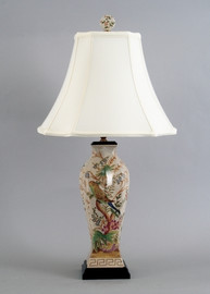 Tropical Paradise Pattern - Luxury Hand Painted Porcelain - 30 Inch Lamp