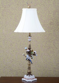 Tropical Paradise Pattern - Luxury Hand Painted Porcelain and Gilt Bronze Ormolu - 36 Inch Lamp