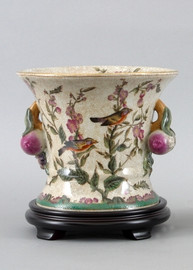 Aviary Elegance Pattern - Luxury Hand Painted Porcelain - 8 Inch Planter