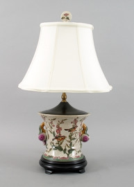 Aviary Elegance Pattern - Luxury Hand Painted Porcelain - 26 Inch Lamp